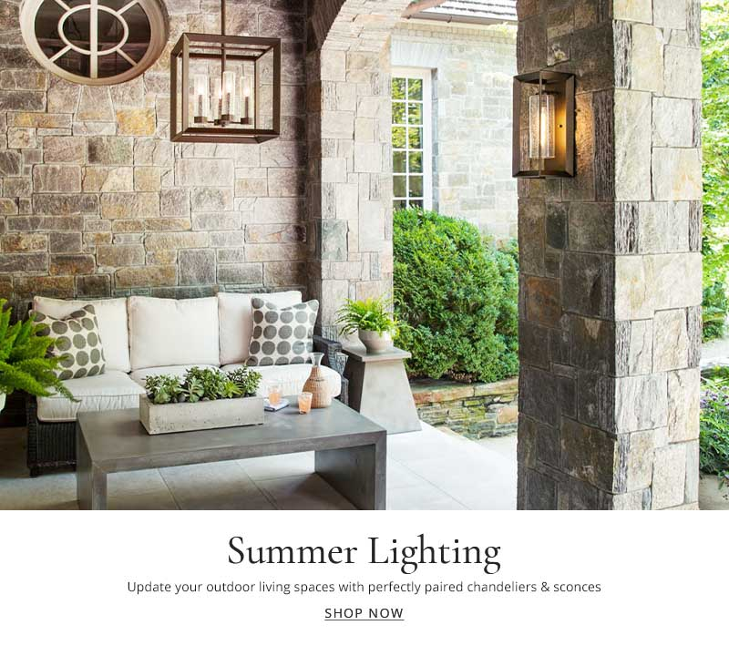 Update your outdoor living spaces with all weather chandeliers and sconces.