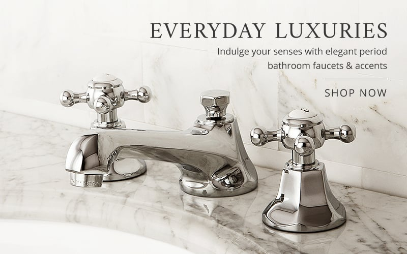 Indulge your senses with elegant period bathroom faucets or accents