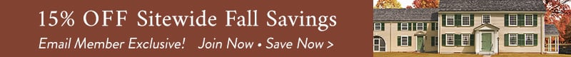 15% off sitewide fall savings - email exclusive - join now